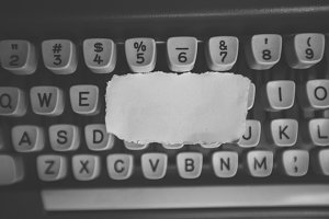 Blank Piece of Paper on Typewriter