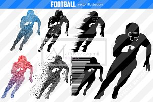 Silhouettes of a football player NFL