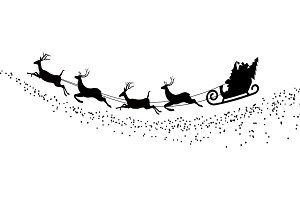silhouette Santa Claus flying