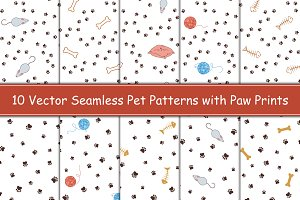 Animal paw prints seamless patterns