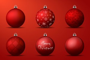 Vector red christmas balls pack
