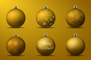 Vector golden christmas balls pack