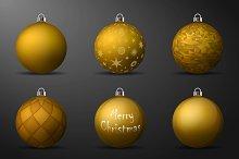 Vector gold christmas balls pack