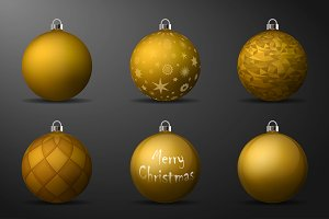 Vector gold christmas balls pack