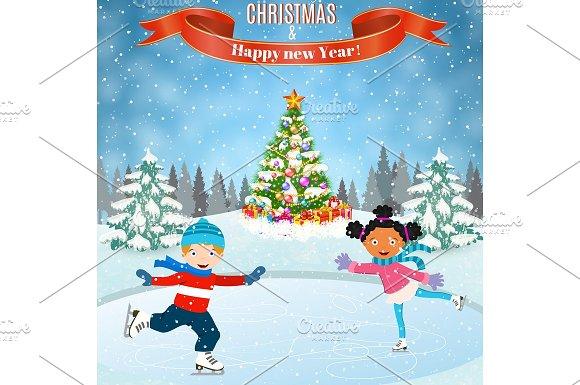 winter scene with skating children