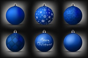 Vector blue christmas balls pack