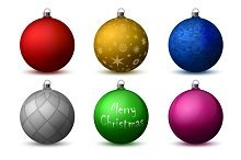 Vector colored christmas balls pack