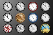 12 vector realistic vintage clocks