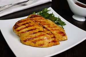 grilled piece chicken schnitzel