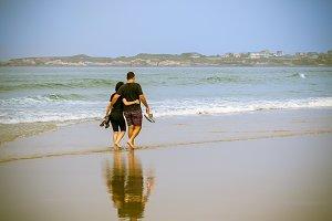 couple in a romantic stroll