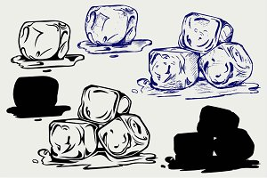 Bunch of ice cubes SVG