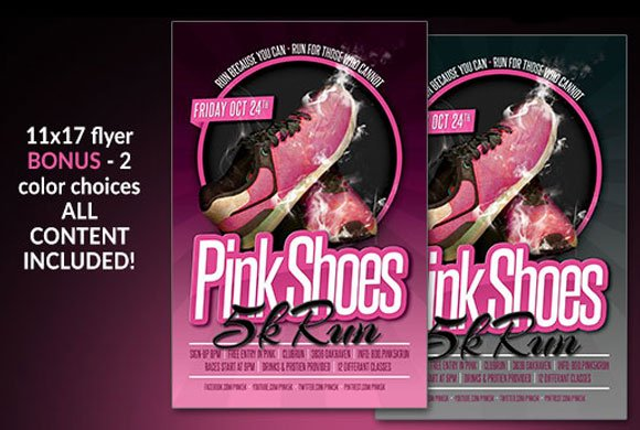 pink shoes 5k run flyer flyer templates creative market
