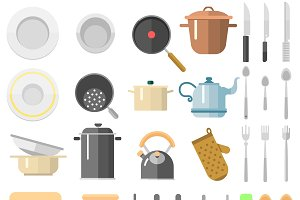 Vector kitchen tools set