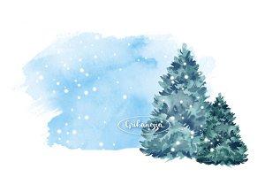 Fir tree.  Watercolor illustration