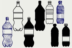 Set of water bottles SVG