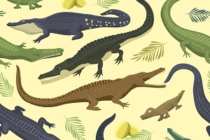 Vector pattern with crocodile