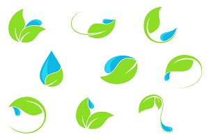 Water and leaf vector icons set