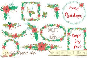 Vintage Watercolor Christmas MegaSet