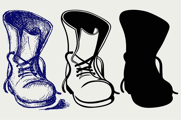 Old And Dirty Boots SVG DXF