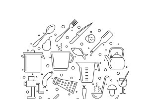 Cooking and kitchen outline icons