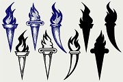 Set of flaming torches SVG