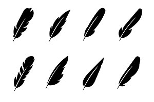 Feather black vector icons