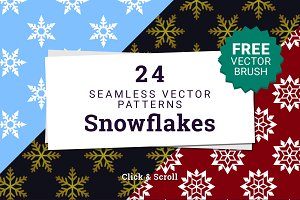 Snowflake Seamless Vector Patterns