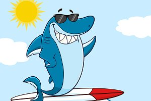 Smiling Blue Shark Surfing