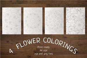 4 Flower Colorings