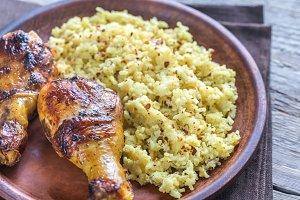 Spicy chicken drumsticks with rice