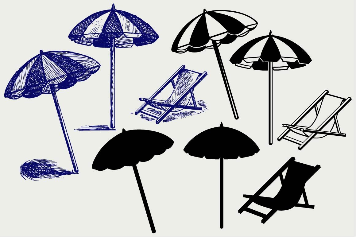Beach umbrella SVG ~ Icons ~ Creative Market