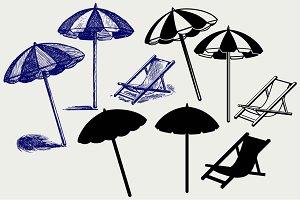 Beach umbrella SVG