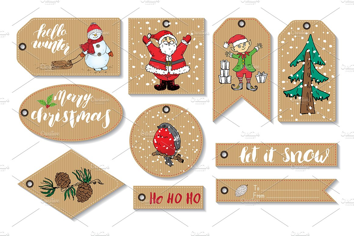 New Year and Christmas Gift Tags ~ Card Templates ~ Creative Market