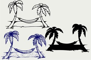 Hammock between palm SVG