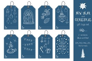 New Year and Christmas Gift Tags