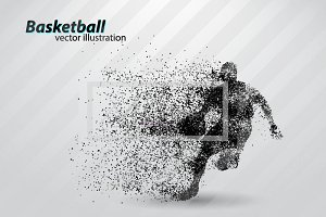 Basketball player NBA from particles