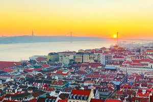 Lisbon at sunset, Portugal