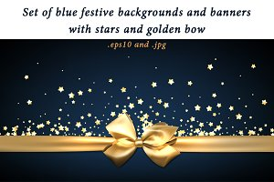 Blue festive backgrounds with stars