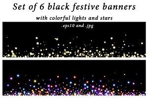 Set of black festive banners