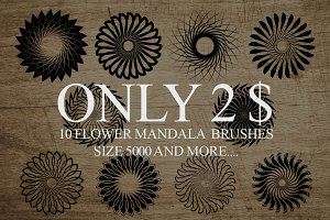 10 Mandala Flowers Brushes