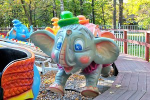 Colorful carousel elephants