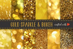 Gold Glitter, Bokeh and Sparkling Pa