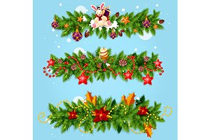 Christmas winter tree garlands