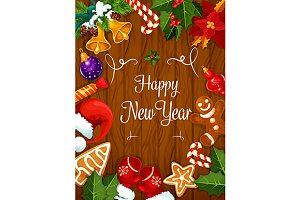 Happy New Year greeting card poster