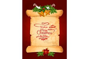 Old paper scroll with Christmas