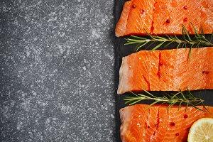 Fresh salmon filet with herbs