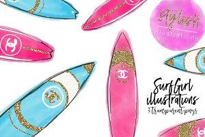 Glitter Surfboard Clipart