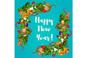 New Year greeting card with frames