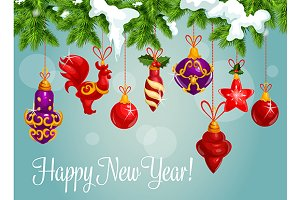 New Year bauble balls