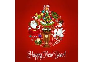 New Year vector holiday greeting